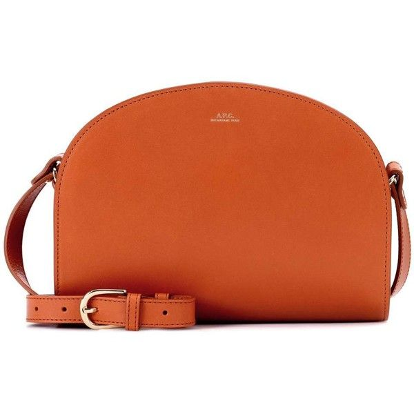 A.P.C. Demi-Lune Leather Shoulder Bag ($430) ❤ liked on Polyvore featuring bags, handbags, shoulder bags, brown, genuine leather handbags, orange handbags, orange leather handbag, brown leather purse and shoulder hand bags