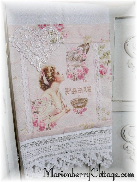 Guest tea towel French pink rose Paris dreams