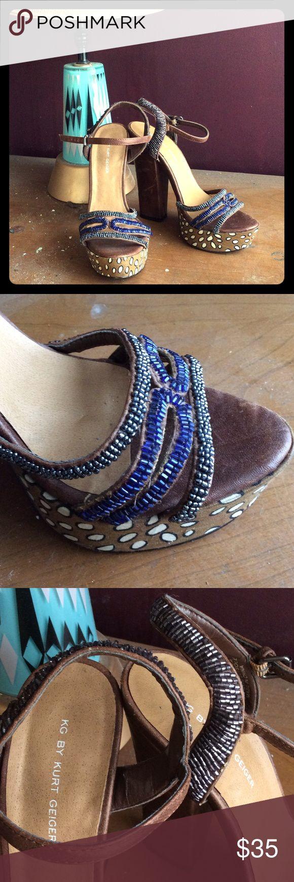 Kurt geiger Beaded bohemian platform heels Lovely beaded Kurt Geiger patform heel sandals! Perfect for pairing with your summer flowy bohemian chic outfit! kurt geiger Shoes Platforms