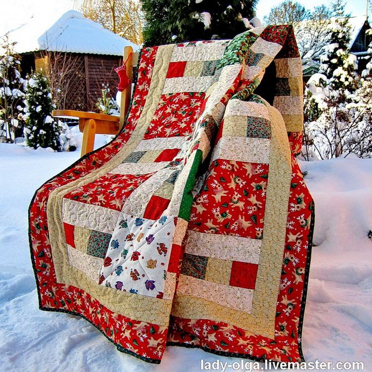 Festive Christmas quilt - is what you need for great winter holidays #christmas #quilt #red quilt #зимнее покрывало   # красное покрывало  #лоскутный