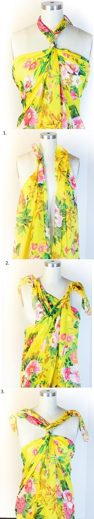 How to Make a Scarf Halter Top – DIY  My other favorite way to wear a sarong/pareo/scarf