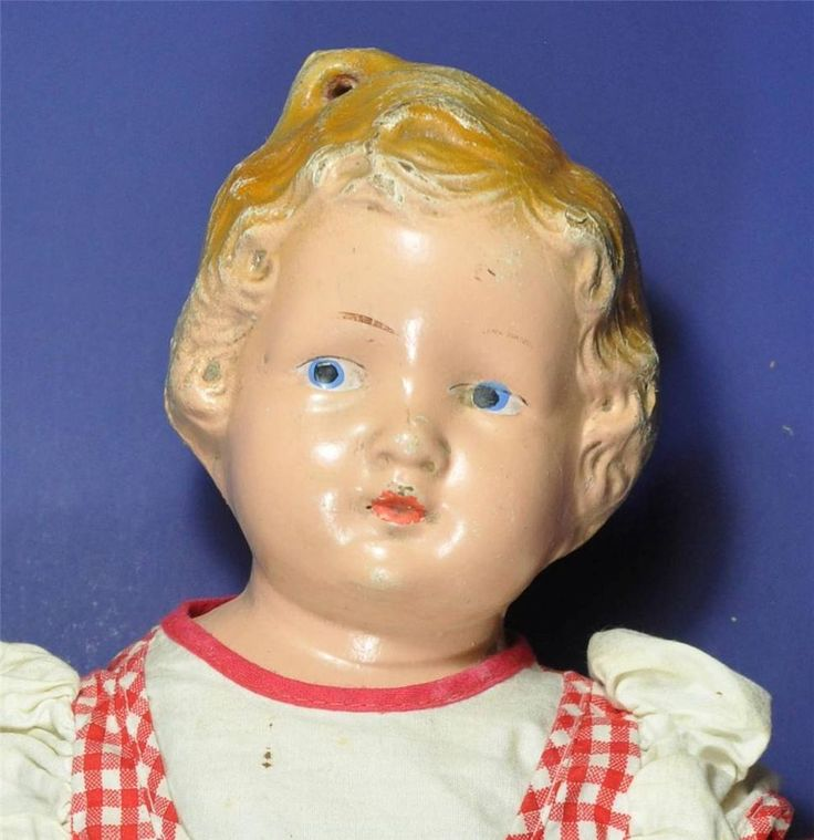 Vintage Antique Composition Doll 1930s Rare With Molded