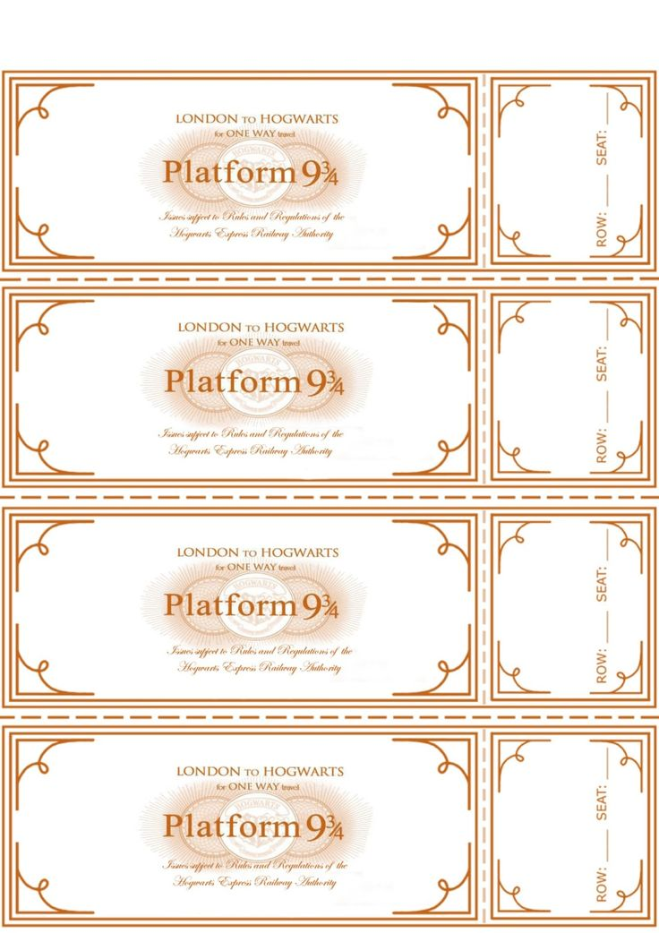 96 best Harry Potter- Printables images on Pinterest Harry - Plate Sale Ticket Template