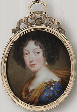Marie Louise of Orléans (1662 – 1689) was Queen consort of Spain  as the first wife of hapless King Charles II, last Hapsburg king of Spain.  Granddaughter of Louis XIII of France;  known as María Luisa de Orleans. Daughter of Philippe, Duc d'Orleans and Henrietta of England.  Miniature of Marie Louise d'Orléans, future Queen of Spain by Jean Petitot le vieux
