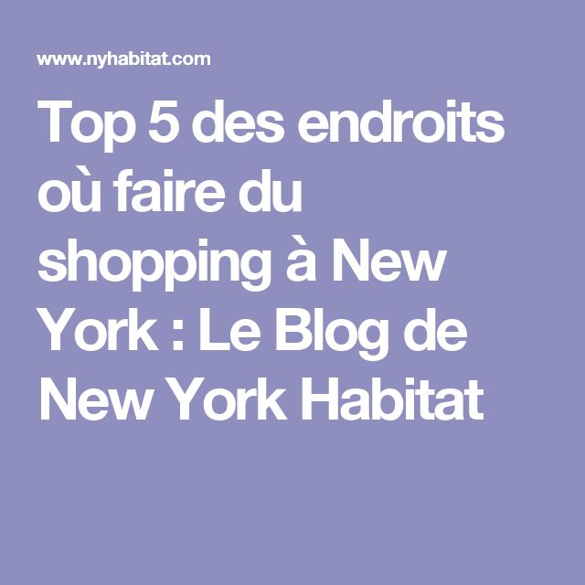 Top 5 des endroits où faire du shopping à New York : Le Blog de New York Habitat