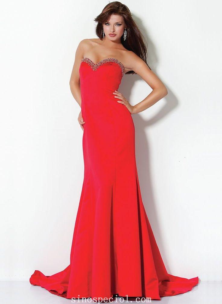 Chic Red Sheath/Column Sweetheart Neckline Sweep Train Elastic Woven Satin Evening/Prom Dress