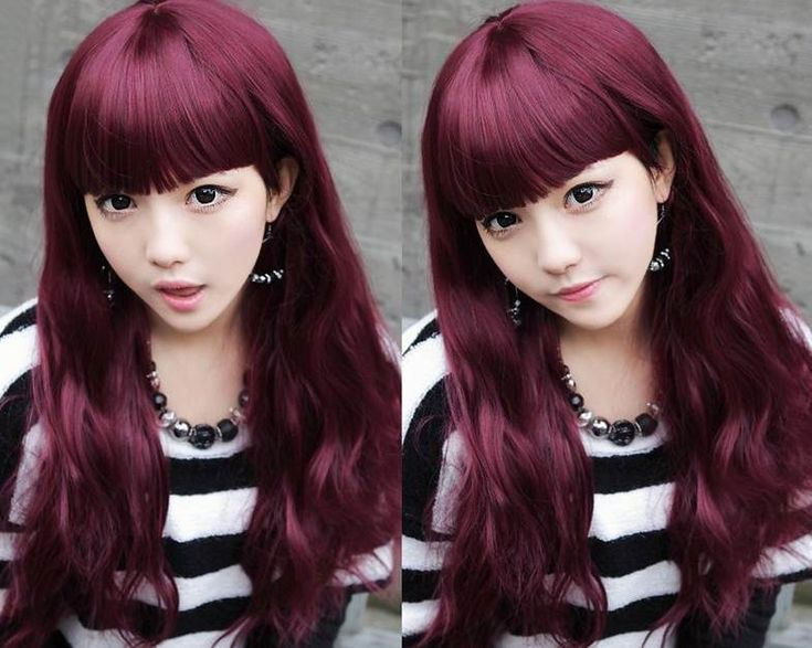 Asian With Long Red Wine Purple Plum Hair  Cuu Du Lieu Cap Cuu Du Lieu Ph