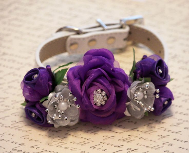 Purple Silver Wedding, Floral Dog Collar- Pet wedding accessory, Dog Lovers, Purple and Silver