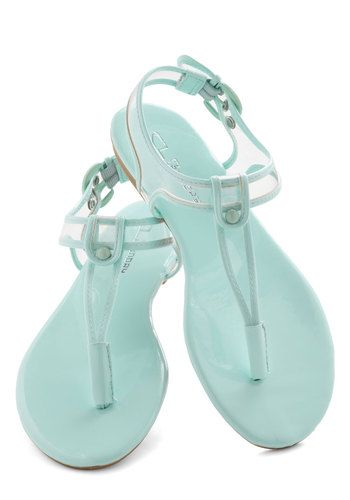 I Can Sea Clearly Sandal - Mint, Solid, Pastel, Slingback, Flat, Casual, Beach/Resort, Summer, Travel