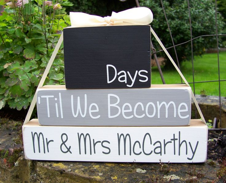 Our Personalised set of wedding blocks lets your count down the days until your wedding. This is a great gift for newly engaged couples!  This set of personalised wedding countdown wooden blocks are stained on 5 sides in woodstain and the front is painted, you choose your colour for the middle block. The top will always be black as its chalkboard paint, the bottom will be white.  The lettering is cut out of fine vinyl and added to the front of each block.  Once the blocks are finished they…