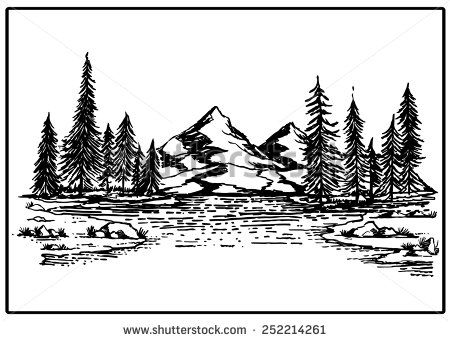Mountain Lake Forest Pine Trees Rock Vector Illustration
