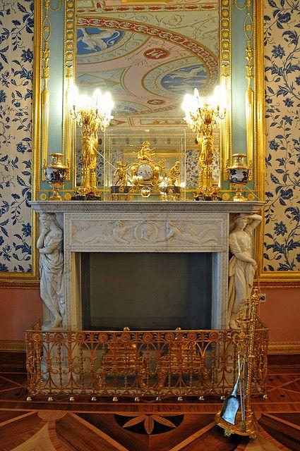 Fireplace, Catherine Palace, Tsarskoye Selo , Russia