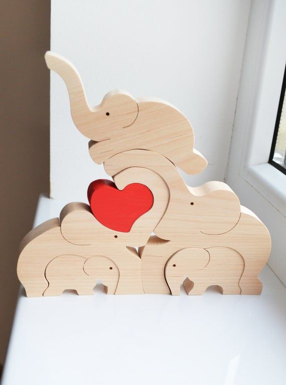 Stacking Elephants Wooden PuzzleJigsawMum and BabyToddlerBrand new