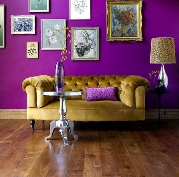 When the mood is fervor, how can we possibly forget the drawing rooms? A golden comfy couch lying against a dark purple wall covered with some fine artistic paintings will give a contemporary look to your drawing room.