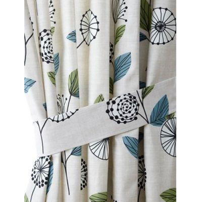 Marika Modern Floral Print Curtain Tiebacks Pair - Teal