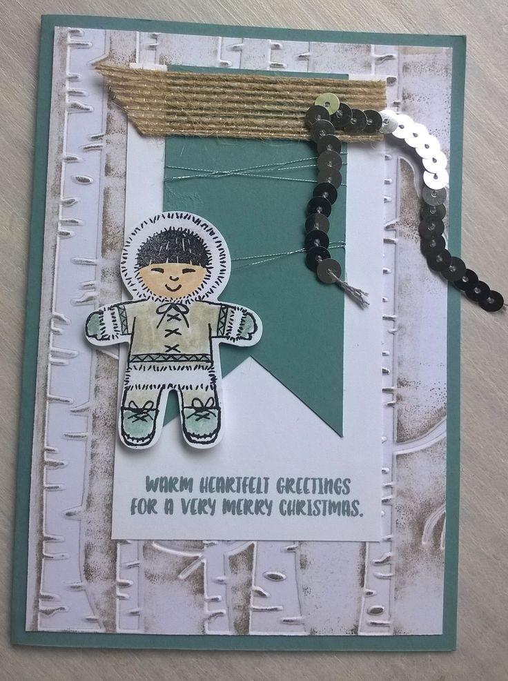 Cookie cutter stampset is zo leuk. hier gecombineerd met de Woodland embossing folder.
