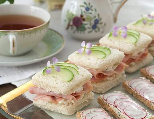 Ham, pineapple an cucumber sandwiches with tea