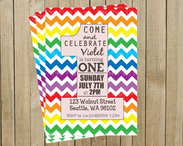 Best Rainbow Birthday Invitations Ideas On Pinterest Rainbow - Digital first birthday invitation