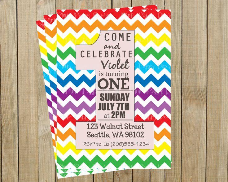 Rainbow Chevron One Rainbow First Birthday Invitation, Custom Digital File. Pink Poppy Design, via Etsy.