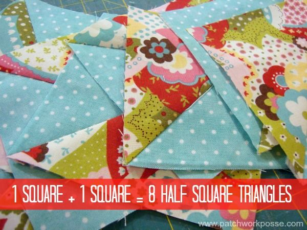 8 Half Square Triangles at Once Tutorial