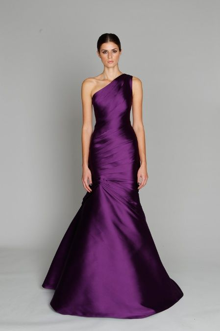 Monique Lhuillier dress.  Love the royal purple, would be perfect winter bridesmaid dress in Navy or Silver