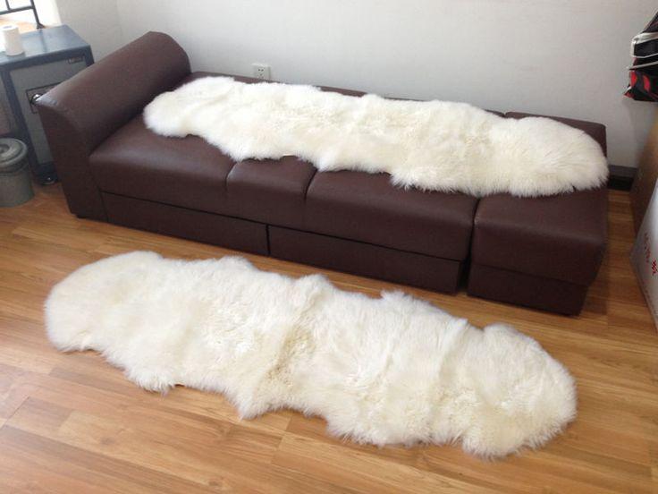 Бесплатная доставка 60 * 185 см 2 шт/лот реальные ковры из натуральной овчины с длинными ворсами/белый ковер/плед для дома