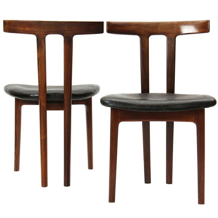 Ole Wanscher; Rosewood And Leather U0027Tu0027 Chairs For A.J. Iversen, ...