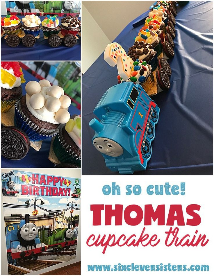 Thomas cupcake train   child birthday party   thomas the tank engine   cupcakes   birthday cake   thomas party   Make this adorable candy cupcake train for your little fella , instructions on Six Clever Sisters blog!