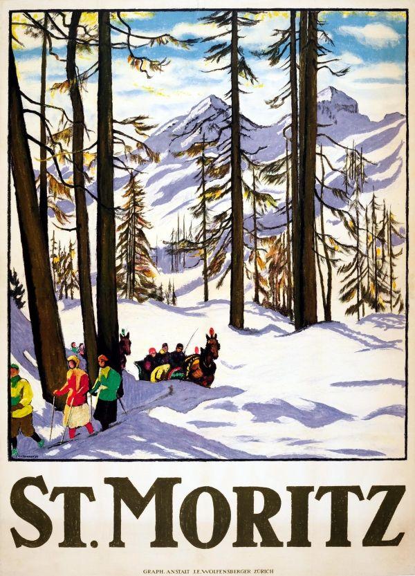 St Moritz Winter Retro Print Vintage Tourism Advertising 5 Sizes /& Framing