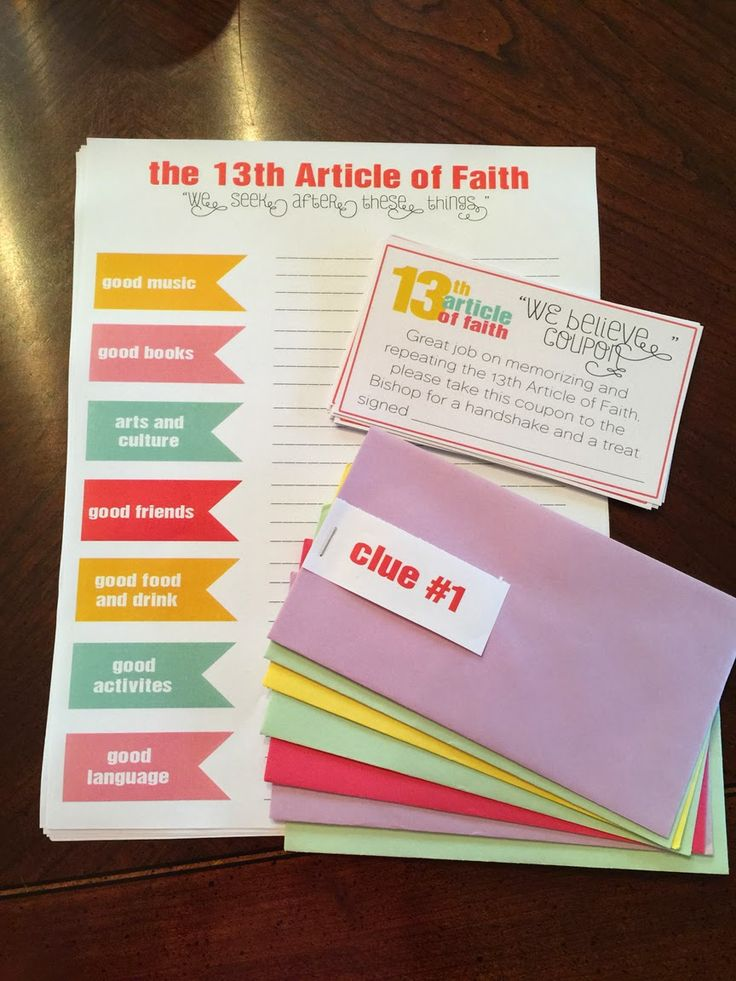 13 Article of Faith Activity