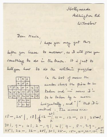 "TURING (ALAN) Autograph letter signed (""Alan Turing""), to Maria Greenbaum (""Dear Maria""), the eight-year-old daughter of his Jungian analyst, explaining with the aid of three diagrams the moves needed to play out successfully at solitaire, Hollymeade, Adlington Road, Wilmslow, despatch (Wilmslow) datestamp 10 July 1953, with enclosed diagram and envelope - Science / Manuscript / Computer Science / Maths / Equations / Enigma / Bonhams"
