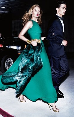 green dress and green fur.