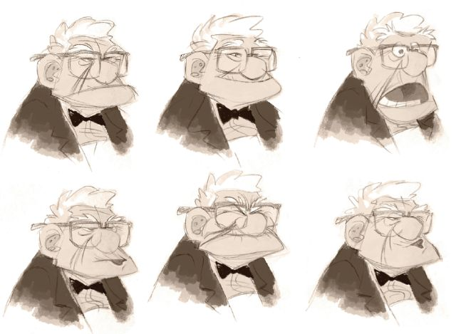 "Pixar Character Design Tips : ""carl expression sheet from pixar s up website"