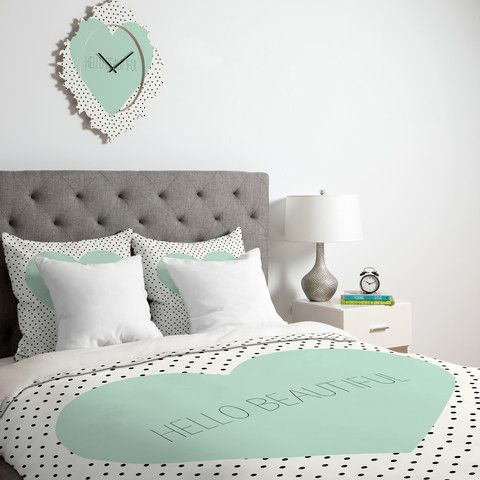 Allyson Johnson Hello Beautiful Heart Duvet Cover #mint #home #decor #typography