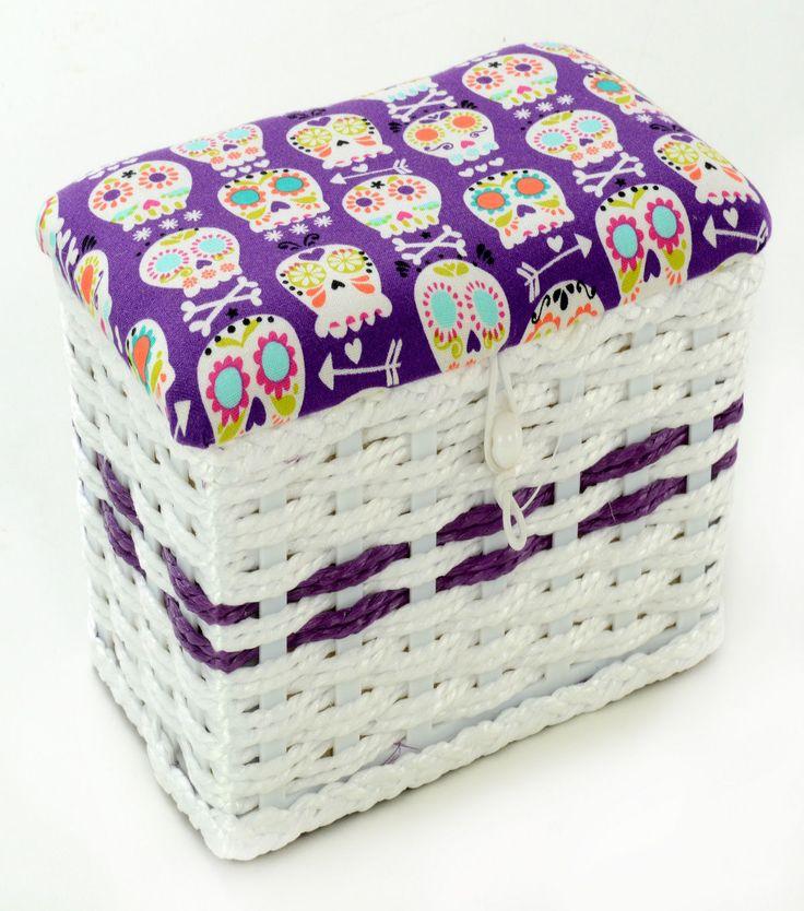 Sewing Basket-Extra Small Purple Skull Print