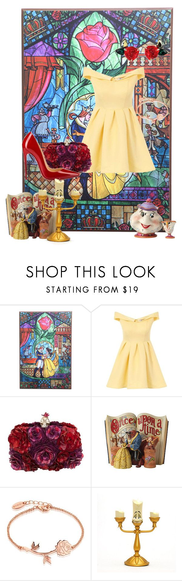 """Belle: Disney Bound"" by dear-x-you-dont-own-me ❤ liked on Polyvore featuring Disney, Chi Chi, Alexander McQueen, Christian Louboutin and Lumière"