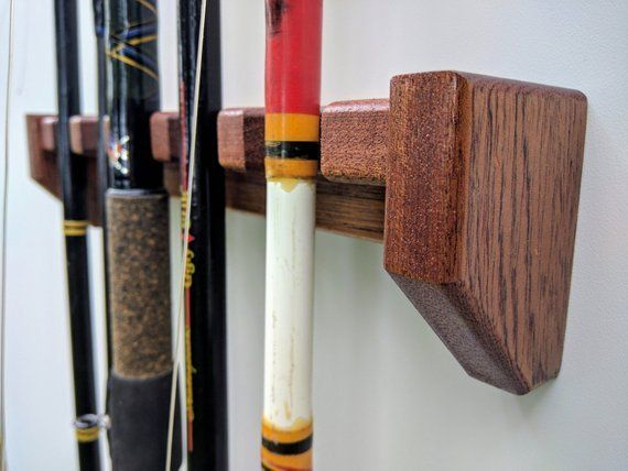 Fishing Rod Rack Wall Mount Solid Mahogany Custom Size