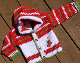 Crochet Baby Sweater, Handmade Christmas sweater with hood, Baby Sweater - Size 2