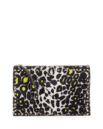 Studded Zip Pouch, Leopard by Valentino at Bergdorf Goodman.