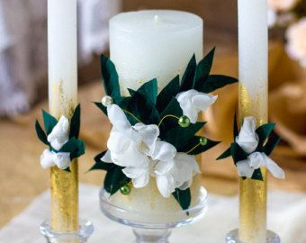Caramel & lace wedding unity candles rustic by RusticBeachChic