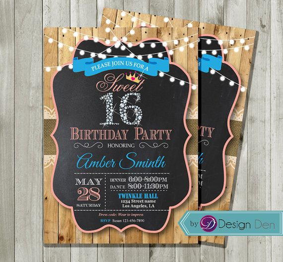 Sweet 16th Birthday Invitation. Country chic style. Pink and Turquoise, Chalkboard background, Tiara. Sweet 16, Printable. #A1056