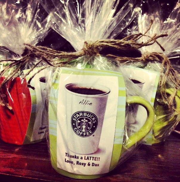 Shower hostess gift starbucks gift card mug and pretty for Hostess thank you gift ideas