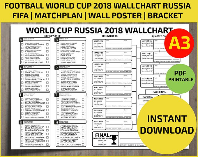 picture about World Cup Printable Bracket identified as Wallchart FIFA 2018 World wide Cup Russia PDF / Printable