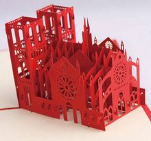Moda 3D Notre Dame DE Paris fazer cartão DE bênção cartões DE papel papel tridimensional esculpido(China (Mainland))