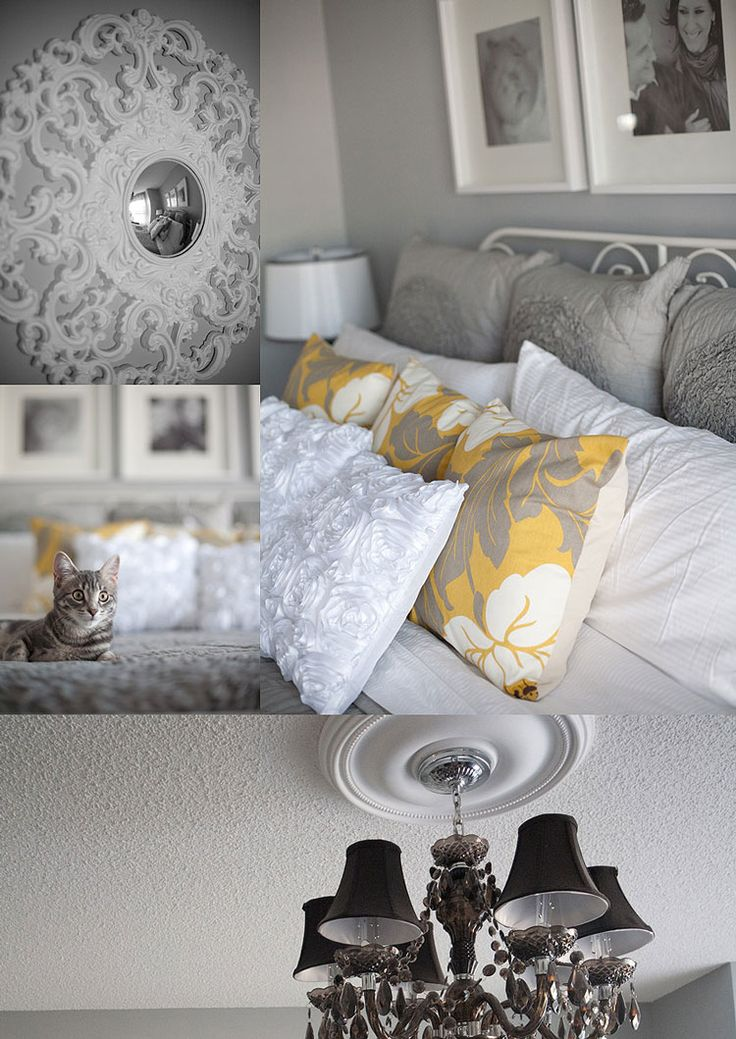 I'm going to have to do a gray & yellow guest room.  Bedding: West Elm,    Chandelier: Home Depot,    Wall Color: Zephyr (Cloverdale Paint),    Yellow Pillows: Etsy,    White Pillows: Ebay,    Lamps: Home Sense
