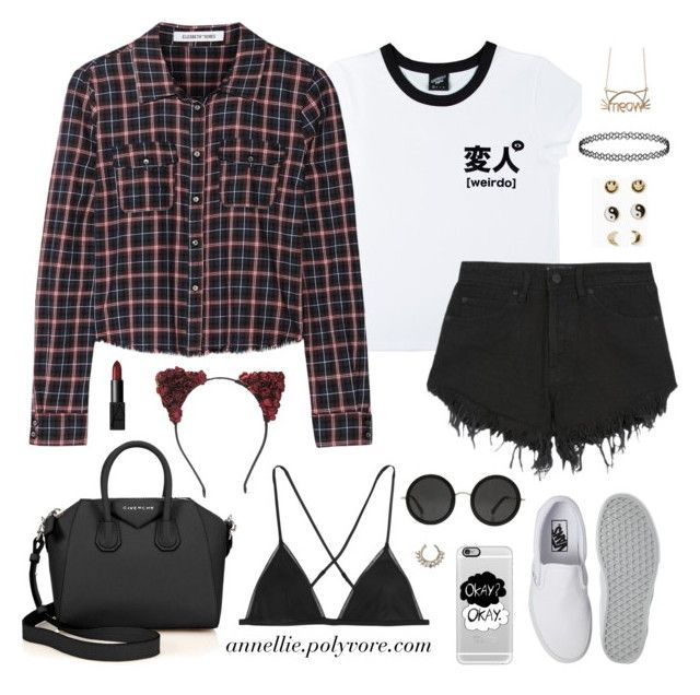 """""""Grungy Hipster"""" by annellie ❤ liked on Polyvore featuring Forever 21, Illustrated People, Nana Judy, Elizabeth and James, Vans, Givenchy, Topshop, Kiki de Montparnasse, Casetify and NARS Cosmetics"""