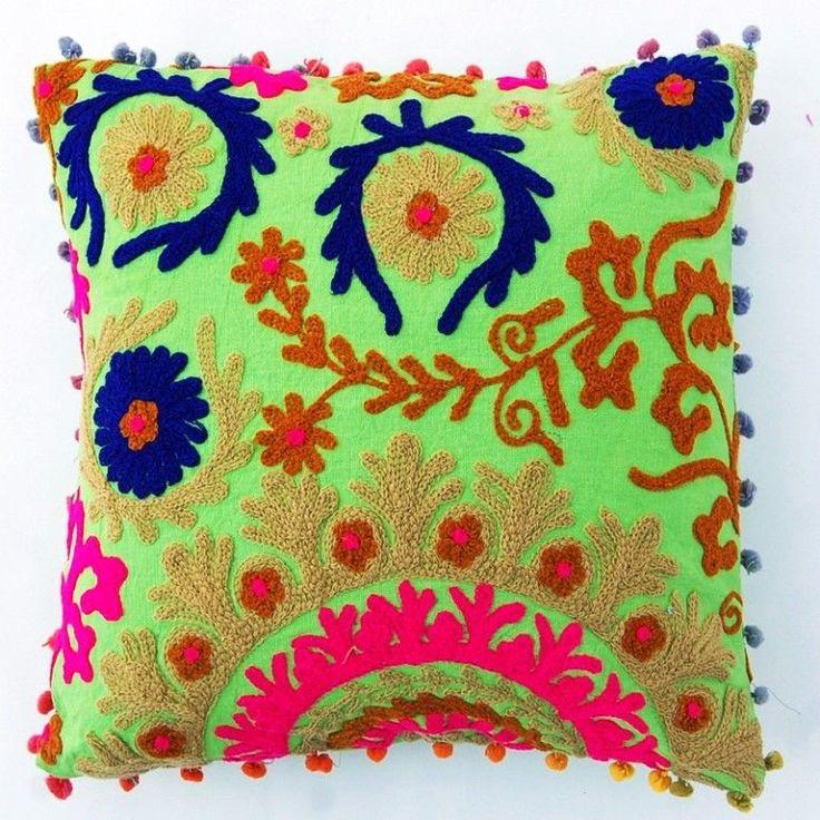 "2 piece Indian Handmade Cushion Cover Pom Pom Uzbek Suzani Embroidery 16x16"" #Artcraft #ArtDecoStyle"