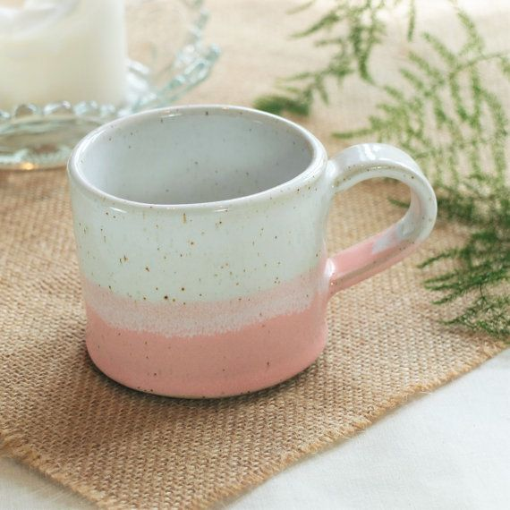 Handmade ceramic mug, pottery mug, two tone pink and white glaze, coffee or tea mug, handmade gift, housewarming gift, kitchen, dining