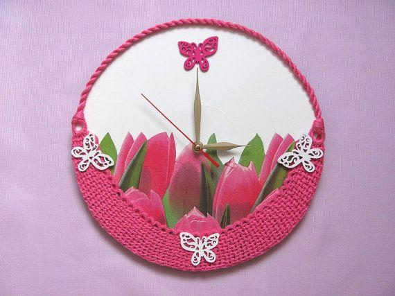 Wall Clock Basket of  Pink Tulips Easter gift by OlgaArtShop, $50.00