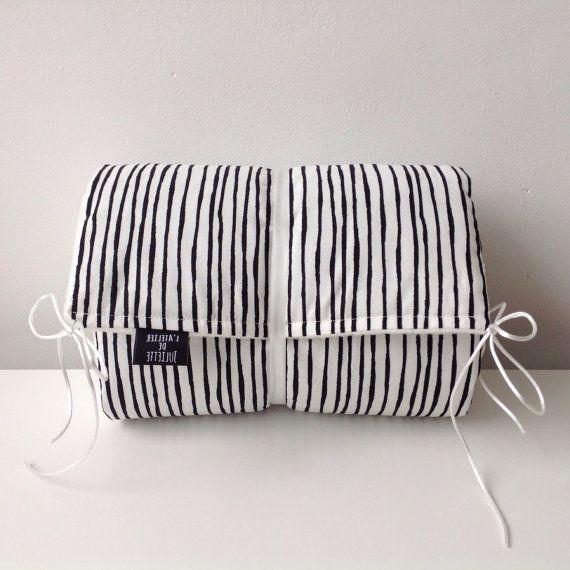 Baby cot bumper black & white print by Latelierdejuliette on Etsy